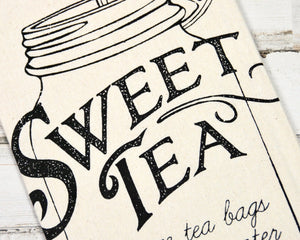 Sweet Tea recipe towel, Southern life, Neutral tan kitchen towels, Country farmhouse tea towel, Kitchen accessories, JaBella Designs, Murfreesboro