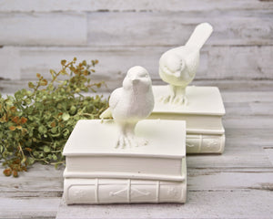 Ivory, Bookends, Songbirds, Home Office Decor, Book Decor, Cottage Chic, Farmhouse Chic, Home Decor, Shelf Decor, JaBella Designs