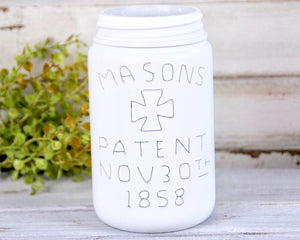 Decorative white mason jar, Painted distressed mason jar centerpieces, Country style vases, Wedding decorations, Holiday decor, JaBella Designs, Murfreesboro, Fixer Upper, The Faded Farmhouse, Vintage Farmhouse Finds
