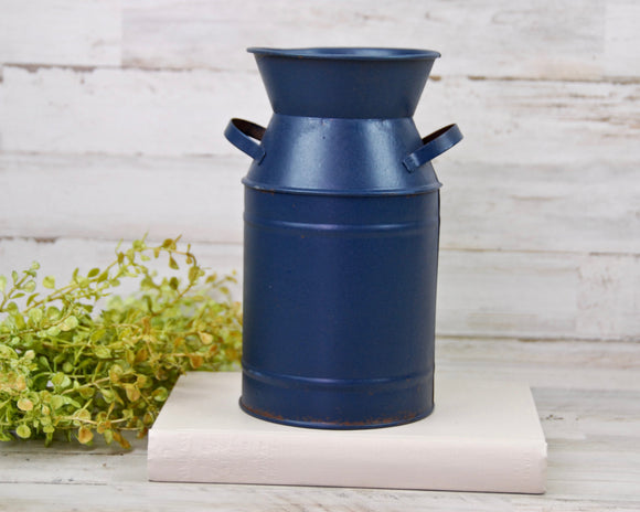 Milk Can, Navy Blue, Patriotic, Fourth of July, Holiday Decorations, Vases, Containers, Home Decor, JaBella Designs, Country, Primitive, Rustic, Farmhouse