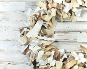 Brown fabric garland, Farmhouse garland, White, Khaki tan, Neutral, Rustic party decorations, Fall decor, Holiday decorations, Handmade, Made in the USA, JaBella Designs, Murfreesboro