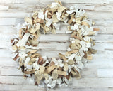 Neutral brown & white rag-tie garland