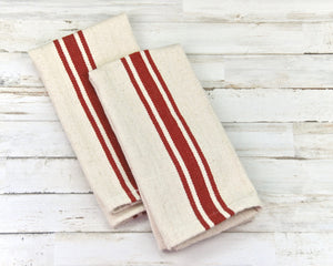 Red grain sack towels, Barn red and cream kitchen towel set, Country kitchen decor and accessories, Country door, Fixer Upper style, Striped tea towels, JaBella Designs