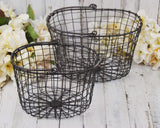 Primitive style metal wire nesting storage baskets