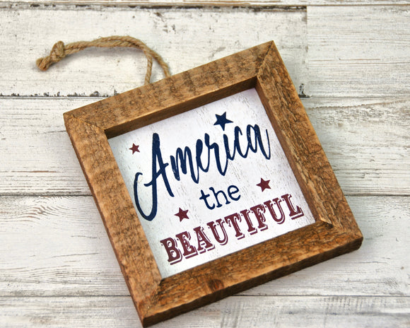 AMERICA THE BEAUTIFUL, America, Fourth of July, Ornament, Wall Decor, Plaque, Red, White, Blue, Patriotic, JaBella Designs, Seasonal Decor, Holiday Decorations