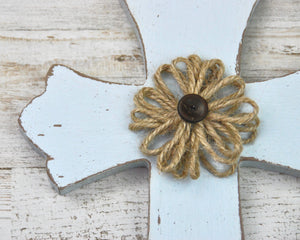 Spa Blue, Brown, Burlap, Cross, Wall Cross, Wooden Cross, Farmhouse, Cottage Style, Shabby Chic, Coastal Living Coastal, Home Decor, JaBella Designs, Made in the USA