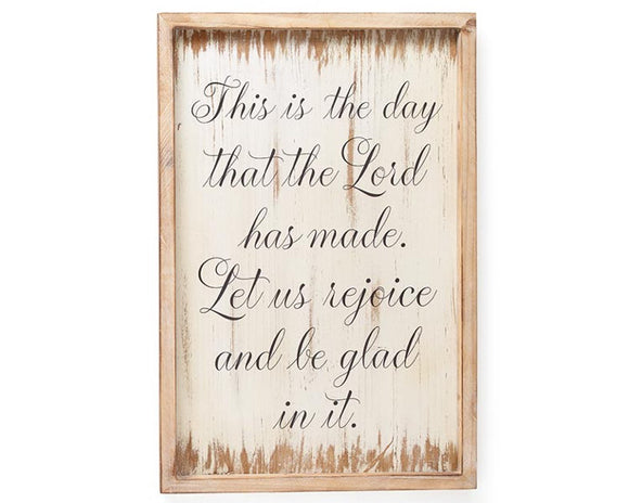 This is the day that the Lord has made. Let us rejoice and be glad in it. Psalms scripture, Christian home decor, Rustic farmhouse wall sign, Ivory, white, Neutral, Brown script, Mud Pie, JaBella Designs, Murfreesboro