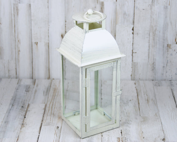 White & silver distressed candle lantern
