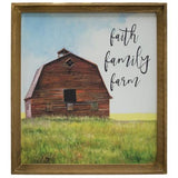 Large framed red country barn canvas print