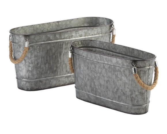 Galvanized Metal Buckets, Set of Two Buckets, Buckets with Rope Handles, Gray, Grey, Dining and Entertaining, Serving Pieces, Party Supplies, Party Decorations, JaBella Designs, Pottery Barn Style, Farmhouse, Country