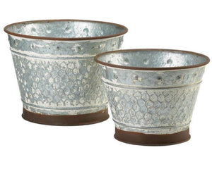 Galvanized metal, galvanized tin, metal planters, planters, plant holders, containers, farmhouse, fixer upper style, Joanna Gaines, JaBella Designs, Home Decor