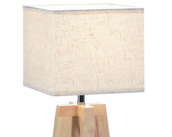 Small tan rustic style wooden table lamp