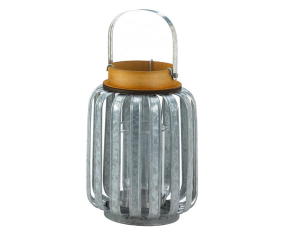 Galvanized metal lantern, Wood trimmed lantern, Candle lanterns, Farmhouse home decor, Industrial candle holders, Farmhouse decorations, Fall decor, JaBella Designs