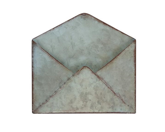 Galvanized metal, Wall pocket, Envelope, Metal envelope, Farmhouse home decor, Home organization, Decorative storage, Rustic storage, Fixer Upper style, The Faded Farmhouse, Pottery Barn, Ballard Designs, JaBella Designs, Shop small