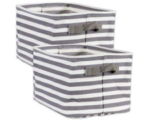 Gray striped bins, Collapsible laundry hampers, Gray, white, Farmhouse decor, Laundry room decor, Home organization, Storage, JaBella Designs, Mud Pie, Boutique