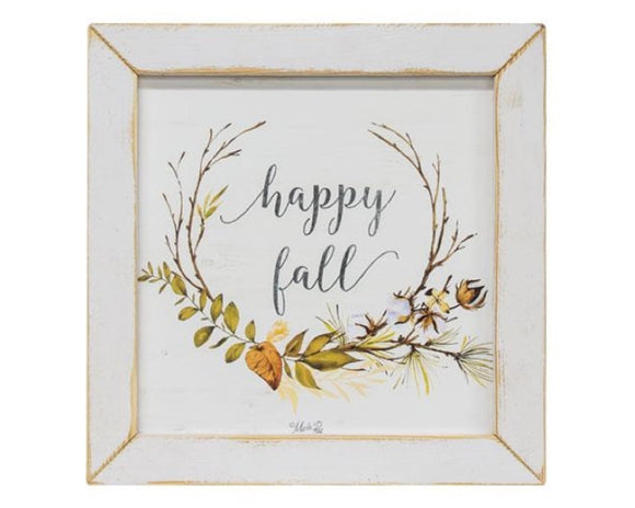 Happy Fall, Fall Artwork, Autumn Print, Orange and green leaves on white background, Framed autumn picture, Holiday decor, Thanksgiving, Seasonal decorations, JaBella Designs, Farmhouse finds