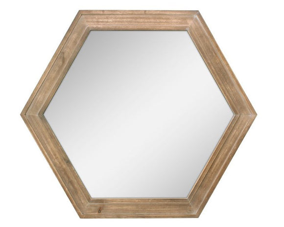 Hexagon mirror, Framed wall hanging mirror, Wooden mirrors, Neutral brown, Modern farmhouse home decor, JaBella Designs, Home decor, Interior design