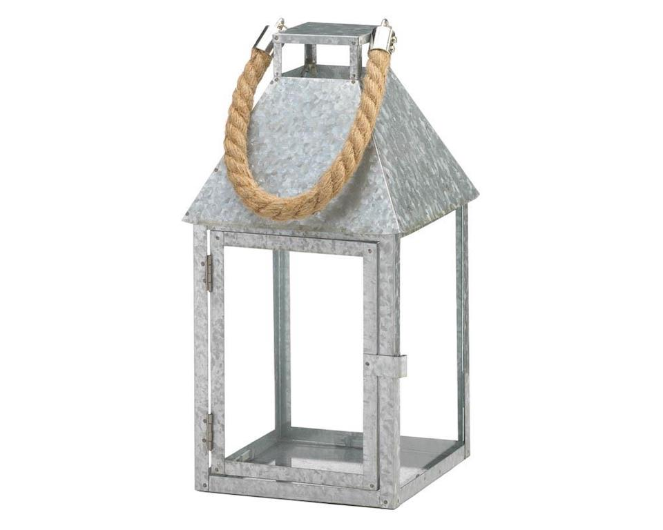 Coastal Farmhouse Galvanized Metal Candle Lantern With Rope Handle Jabella Designs