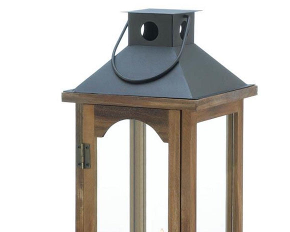 Tall brown wood & metal candle lantern