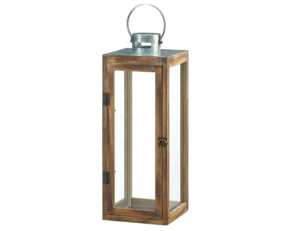 Wood Lantern, Metal Top Lantern, Modern Lanterns, Coastal Farmhouse, Square Candle Holders, Candle Lanterns, Brown, Silver, JaBella Designs, Home Decor, Party Decorations, Fixer Upper Style, Pottery Barn Style