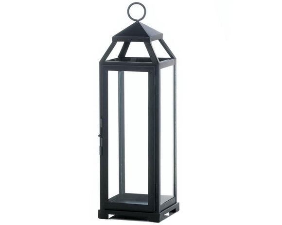 Large black lantern, Candle lanterns, Black metal, Iron, Glass, Modern farmhouse candle holders, Outdoor lighting, Wedding decorations, Party decor, For the home, JaBella Designs