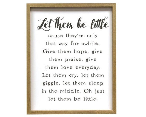 Neutral 'Let Them Be Little' nursery wall plaque