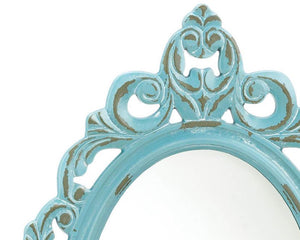 Light blue oval mirror, Vintage style distressed mirrors, Shabby cottage chic wall hanging mirror, Teen bedroom decor, Shabby chic mirrors, For the home, JaBella Designs, Vintage farmhouse style, The Vintage Artistry