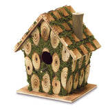 Whimsical wood birdhouse with green moss