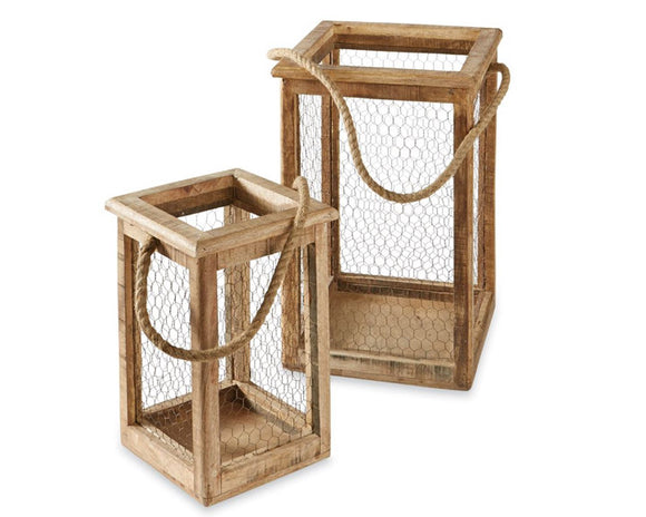 Lanterns, Chicken wire, Mud Pie, Wood candle lanterns, Lighting, Farmhouse lanterns, Brown, Beige, Metal, Mango wood, JaBella Designs