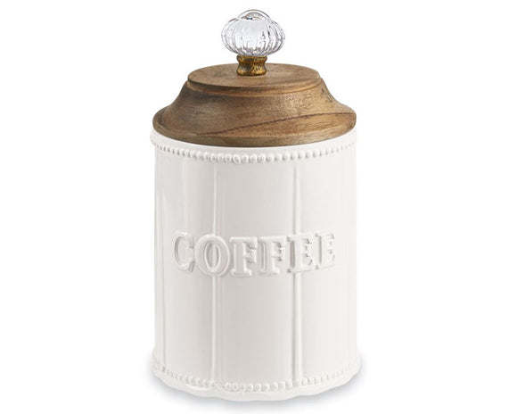 Mud Pie, Door knob coffee canister, White, Kitchen canisters, Farmhouse containers, Farmhouse kitchen, Fixer Upper style, JaBella Designs, Murfreesboro, Online Boutique