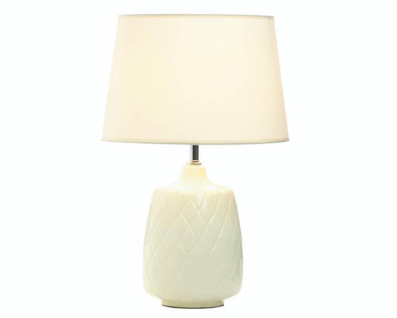 Quilted ivory table lamp with shade