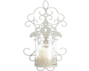 Shabby ornate cream candle wall sconce