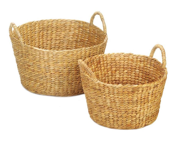 Round Wicker Baskets, Water Hyacinth Basket Set, Woven Baskets, Storage Baskets, Natural, Tan, Light Brown, Baskets with Handles, JaBella Designs, Fixer Upper, Pottery Barn, Ballard Designs, Home Decor, Organization