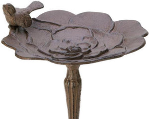 Whimsical songbird cast iron birdbath