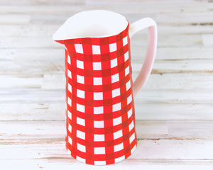 Red, Gingham, Pitcher, Serving, Dining, Entertaining, Country, White, Party Supplies, Sweet Tea, Southern, JaBella Designs, Creative Co-Op