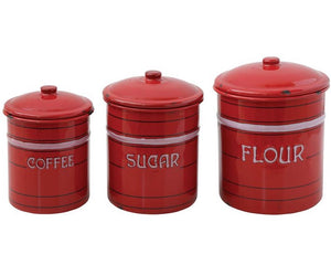 Red kitchen canisters, Vintage reproduction canister set, Food containers, Coffee, sugar, flour, JaBella Designs, Murfreesboro
