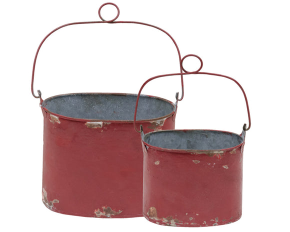 Red, Canisters, Buckets, Small, Distressed, Country, Farmhouse, Rustic, Antique Style, JaBella Designs, Home Decor