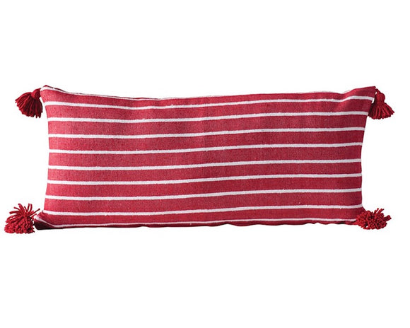 Red striped pillow, Extra long lumbar pillow, Body pillow, Ballard Designs, Pottery Barn style, JaBella Designs
