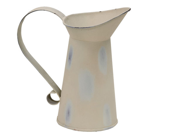 Short decorative ivory distressed metal pitcher