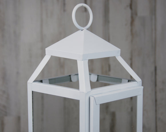 Tall white Fixer Upper style farmhouse candle lantern for the home, JaBella Designs