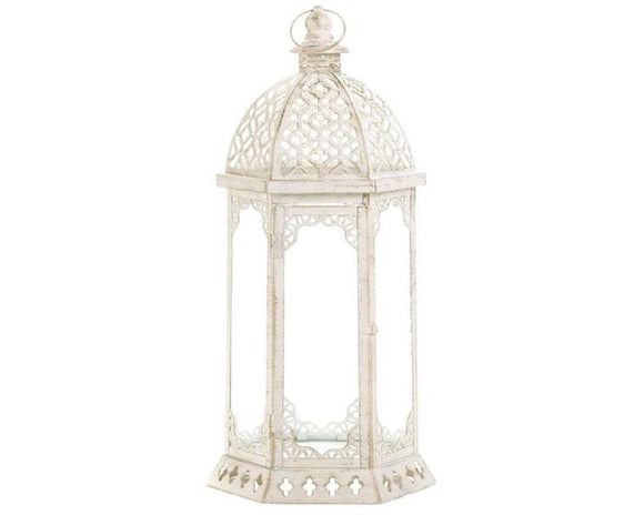 Large cottage chic ornate white candle lantern