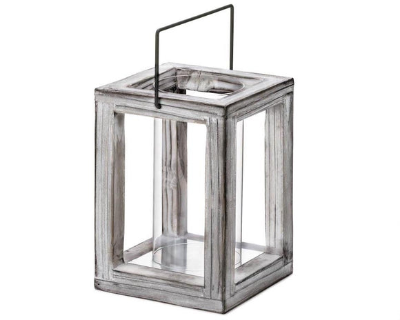Weathered gray wooden candle lantern