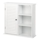 Narrow white wall cabinet with shelves