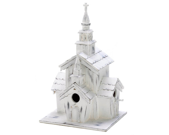 White distressed wooden church with steeple birdhouse, White chapel birdhouse, Outdoor birdhouse, Gardening, Patio decor, JaBella Designs