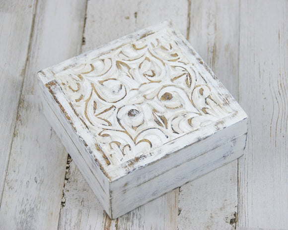 Shabby white ornate carved wood trinket box