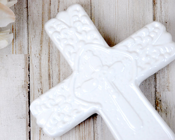 White cross figurine, Decorative porcelain crosses, Ornate cross decor, Cottage chic Christian decor, Religious accessories, JaBella Designs, Burton and Burton, Murfreesboro