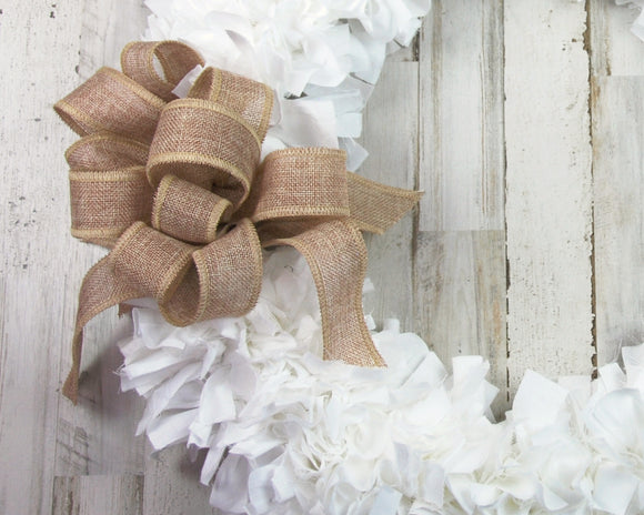 White farmhouse rag-tie fabric wreath