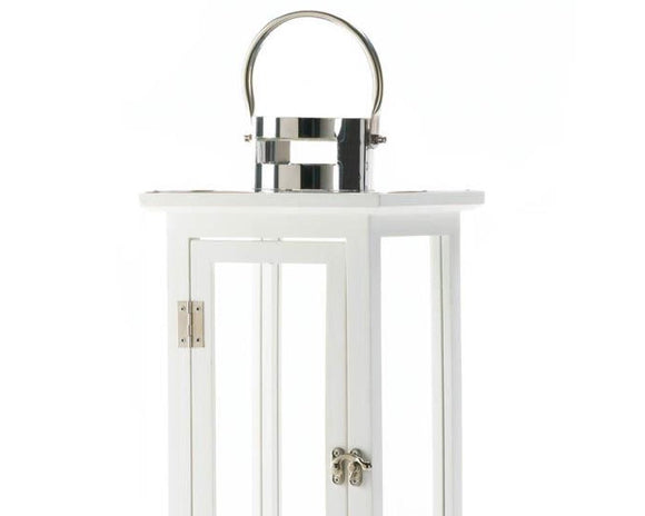 White Lanterns, White Candle Lantern, White, Silver, Wooden, Glass, Metal, Tall Lantern, Coastal Living, Modern Farmhouse, JaBella Designs, Fixer Upper Style, Home Decor, Murfreesboro
