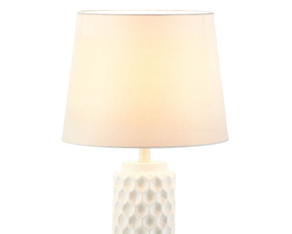 White table lamp, Honeycomb table lamp, Modern farmhouse, Fixer Upper style, Pottery Barn style, Wayfair, Home Decor, Lighting fixtures, Decorative lighting, JaBella Designs