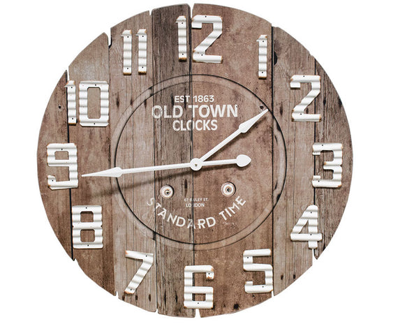 Large wood clock, Brown and white round clock, Antique style clock, Farmhouse wall hanging clock, Living room clock, Fixer Upper style, JaBella Designs, Home decor, For the home
